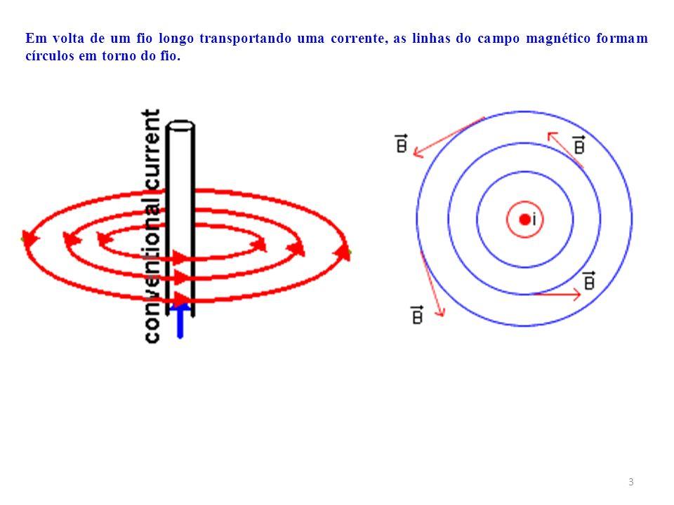 Em volta de um fio longo transportando uma corrente, as linhas do campo magnético formam círculos em torno do fio.