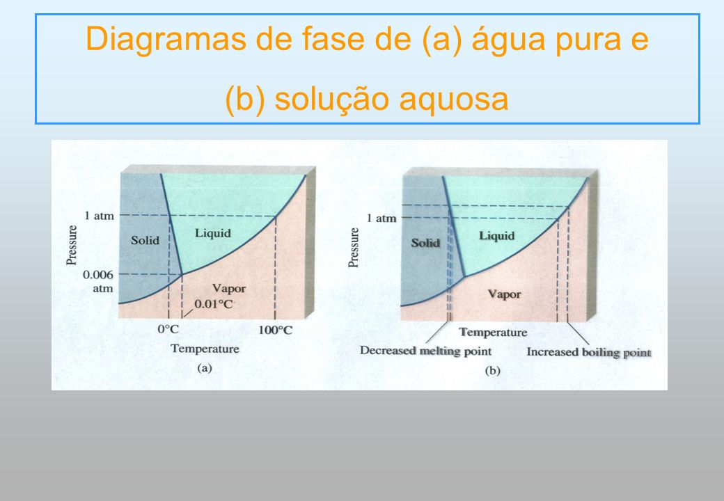 Diagramas de fase de (a) água pura e