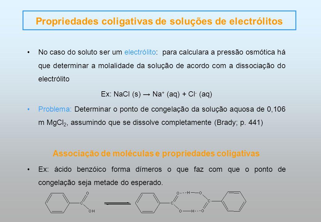 Propriedades coligativas de soluções de electrólitos