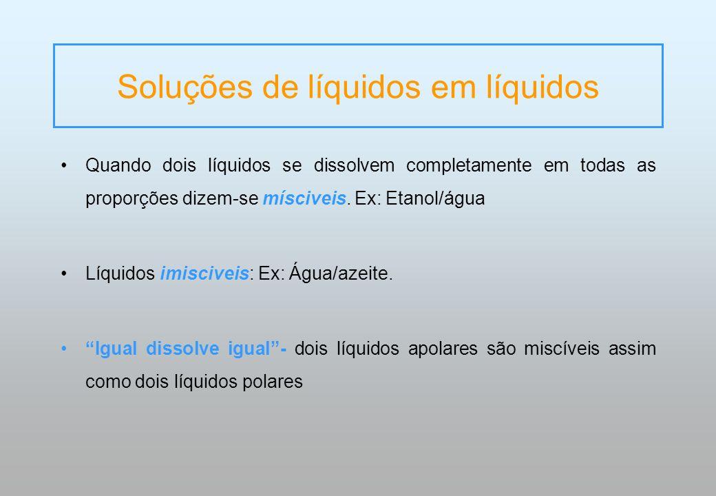 Soluções de líquidos em líquidos
