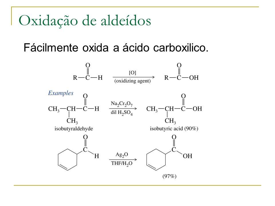 Oxidação de aldeídos Fácilmente oxida a ácido carboxilico.