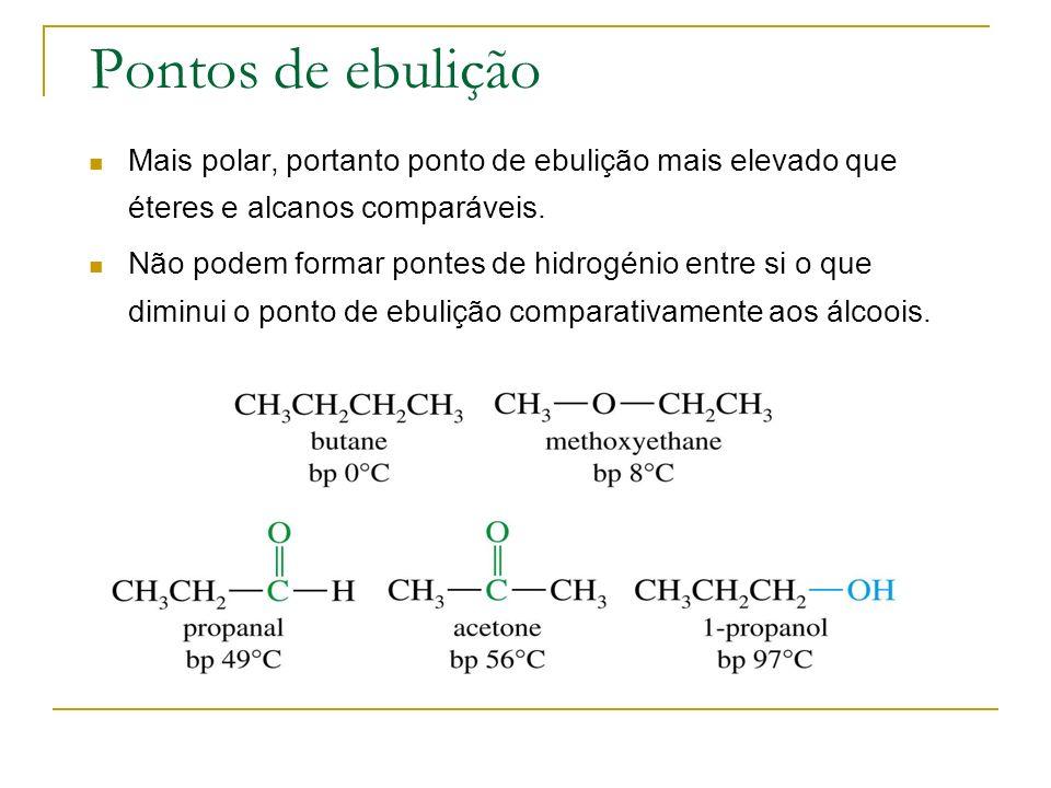 Pontos de ebulição Mais polar, portanto ponto de ebulição mais elevado que éteres e alcanos comparáveis.