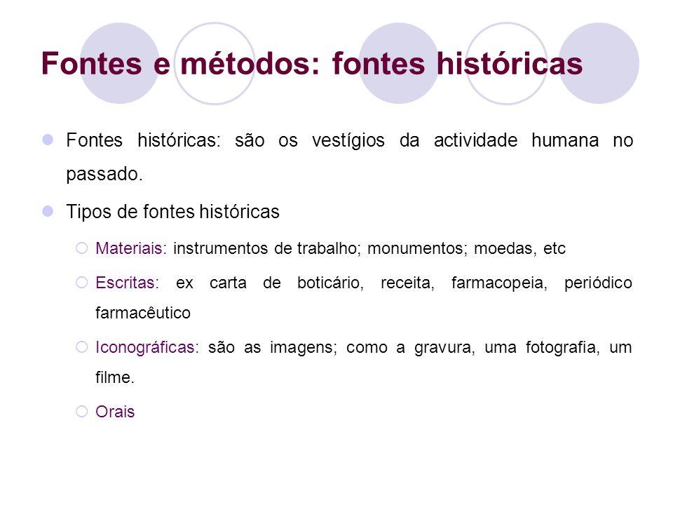 Fontes e métodos: fontes históricas
