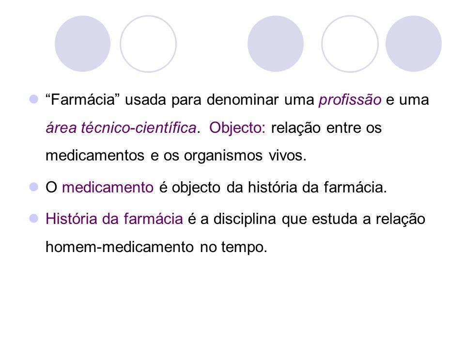 Farmácia usada para denominar uma profissão e uma área técnico-científica. Objecto: relação entre os medicamentos e os organismos vivos.