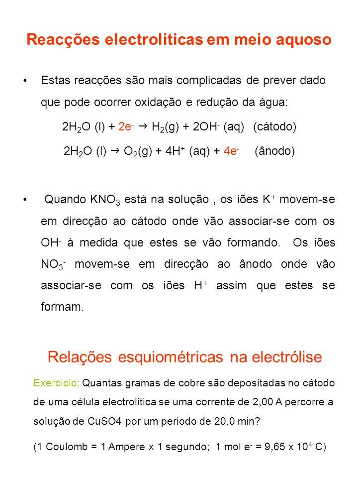 Reacções electroliticas em meio aquoso