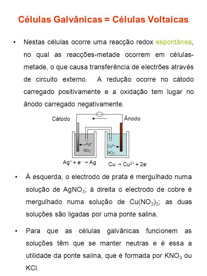 Células Galvânicas = Células Voltaicas