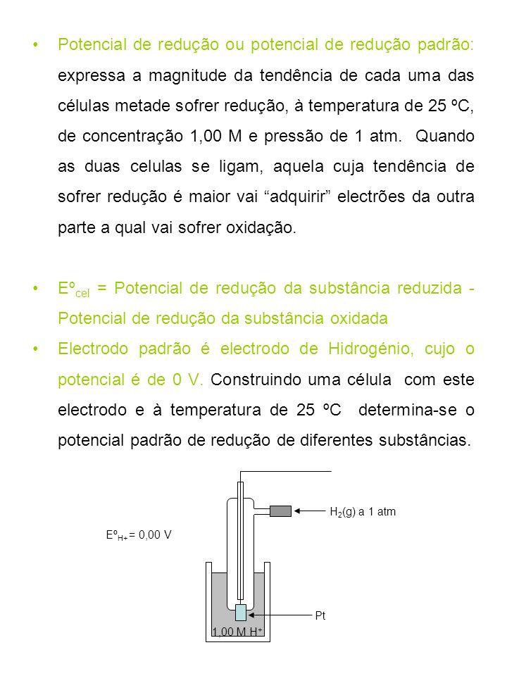 Potencial de redução ou potencial de redução padrão: expressa a magnitude da tendência de cada uma das células metade sofrer redução, à temperatura de 25 ºC, de concentração 1,00 M e pressão de 1 atm. Quando as duas celulas se ligam, aquela cuja tendência de sofrer redução é maior vai adquirir electrões da outra parte a qual vai sofrer oxidação.