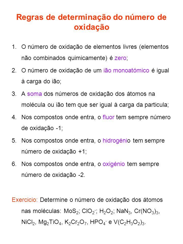 Regras de determinação do número de oxidação