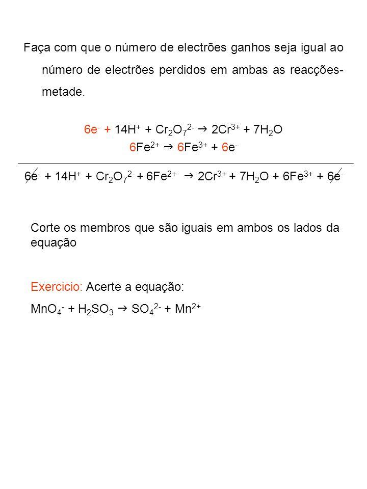 6e- + 14H+ + Cr2O72- + 6Fe2+ g 2Cr3+ + 7H2O + 6Fe3+ + 6e-