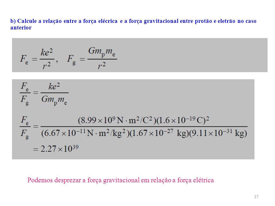 Podemos desprezar a força gravitacional em relação a força elétrica