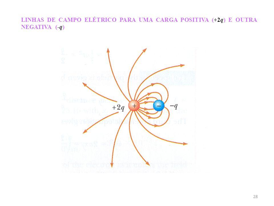 LINHAS DE CAMPO ELÉTRICO PARA UMA CARGA POSITIVA (+2q) E OUTRA NEGATIVA (-q)