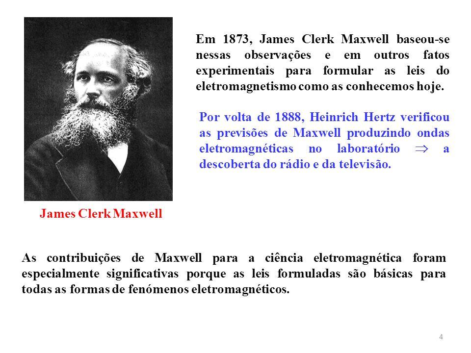 Em 1873, James Clerk Maxwell baseou-se nessas observações e em outros fatos experimentais para formular as leis do eletromagnetismo como as conhecemos hoje.