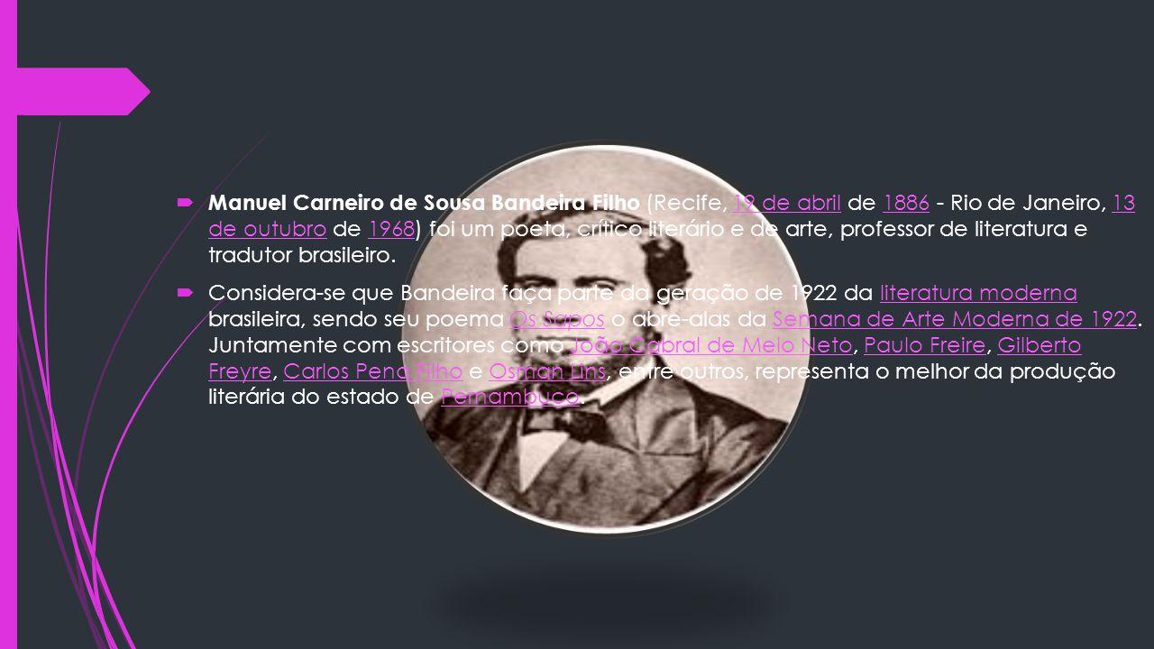 Manuel Carneiro de Sousa Bandeira Filho (Recife, 19 de abril de 1886 - Rio de Janeiro, 13 de outubro de 1968) foi um poeta, crítico literário e de arte, professor de literatura e tradutor brasileiro.