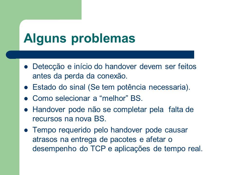 Alguns problemas Detecção e início do handover devem ser feitos antes da perda da conexão. Estado do sinal (Se tem potência necessaria).