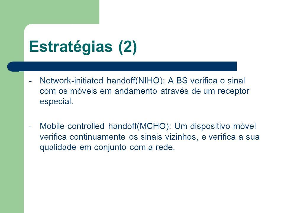 Estratégias (2) - Network-initiated handoff(NIHO): A BS verifica o sinal com os móveis em andamento através de um receptor especial.