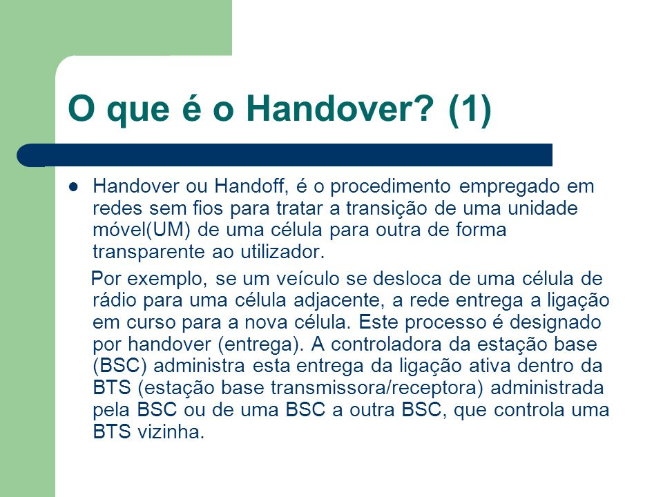 O que é o Handover (1)