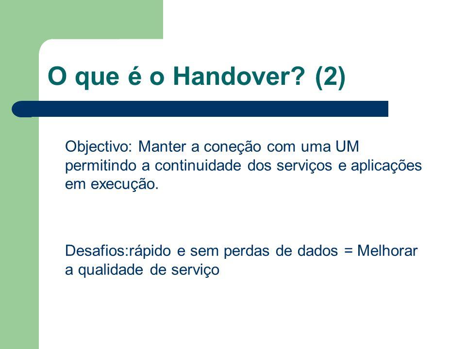 O que é o Handover (2) Objectivo: Manter a coneção com uma UM permitindo a continuidade dos serviços e aplicações em execução.