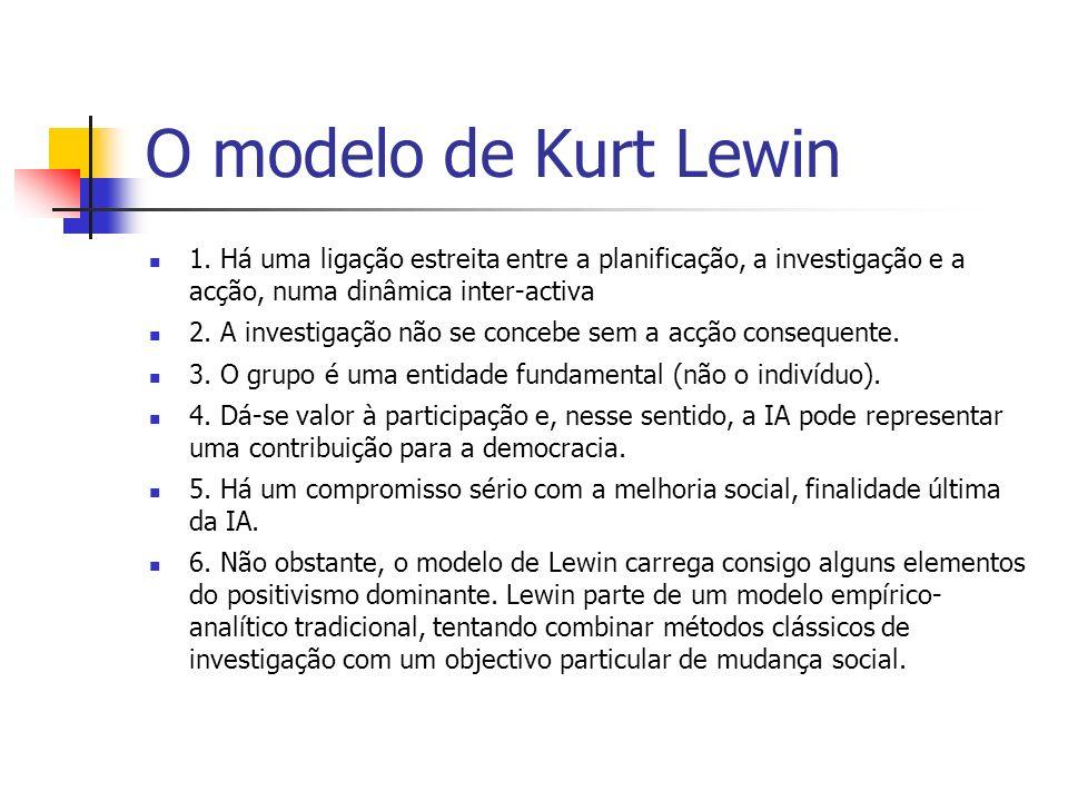 O modelo de Kurt Lewin 1. Há uma ligação estreita entre a planificação, a investigação e a acção, numa dinâmica inter-activa.
