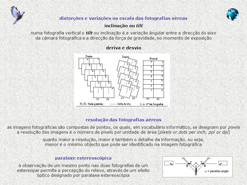 distorções e variações na escala das fotografias aéreas