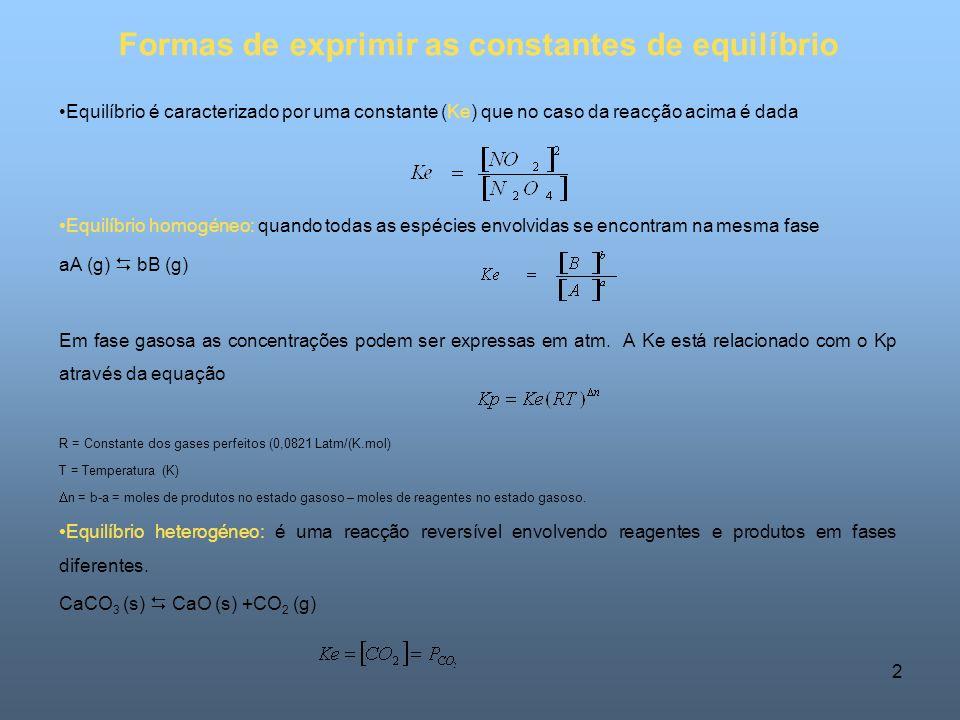 Formas de exprimir as constantes de equilíbrio