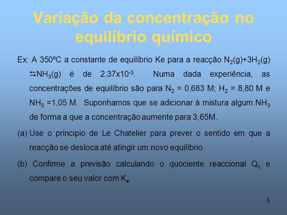 Variação da concentração no equilíbrio químico