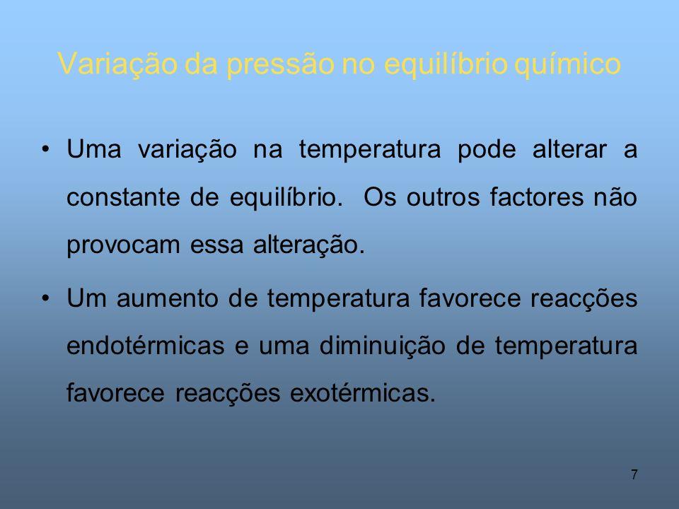 Variação da pressão no equilíbrio químico