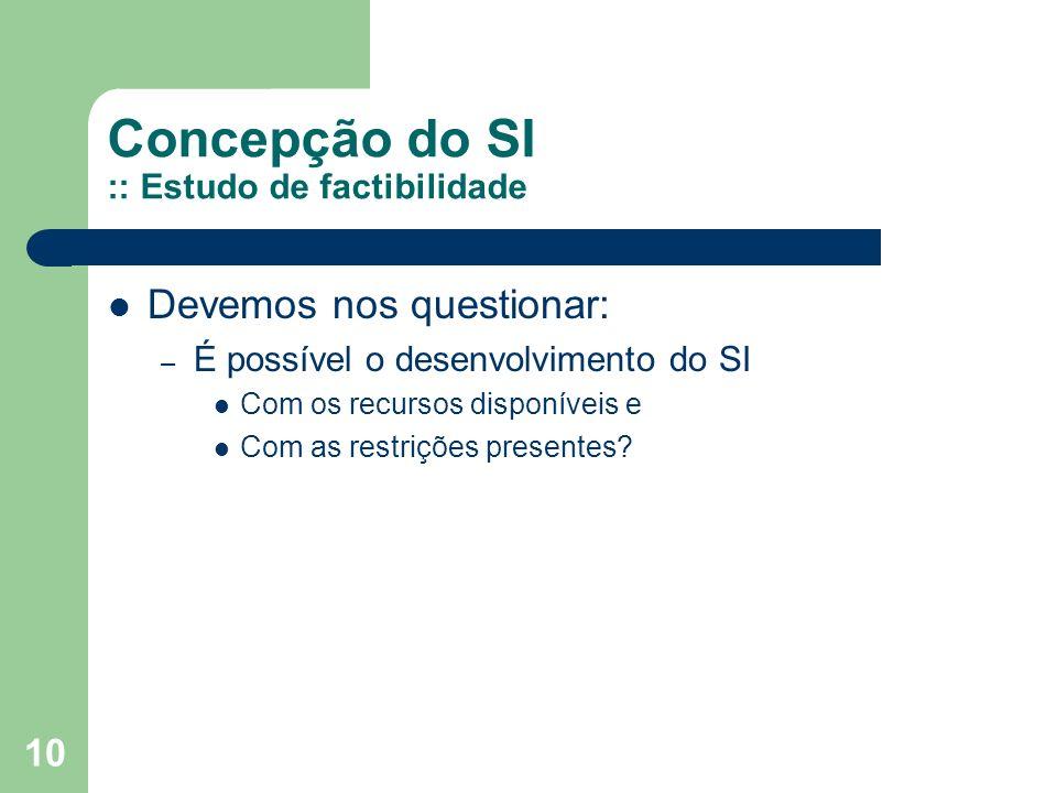 Concepção do SI :: Estudo de factibilidade