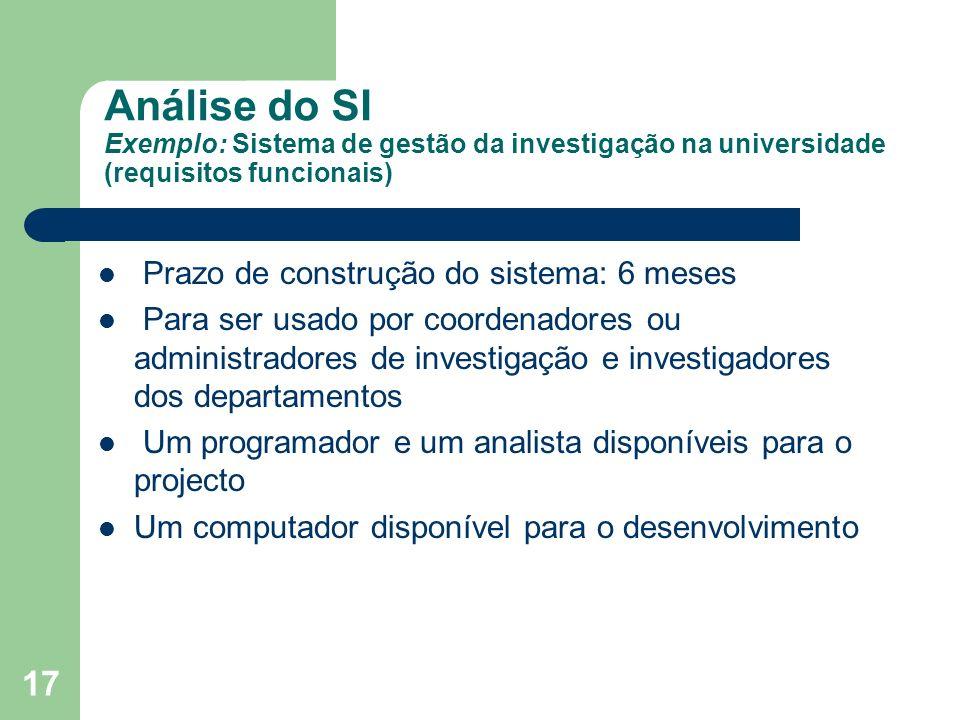 Análise do SI Exemplo: Sistema de gestão da investigação na universidade (requisitos funcionais)