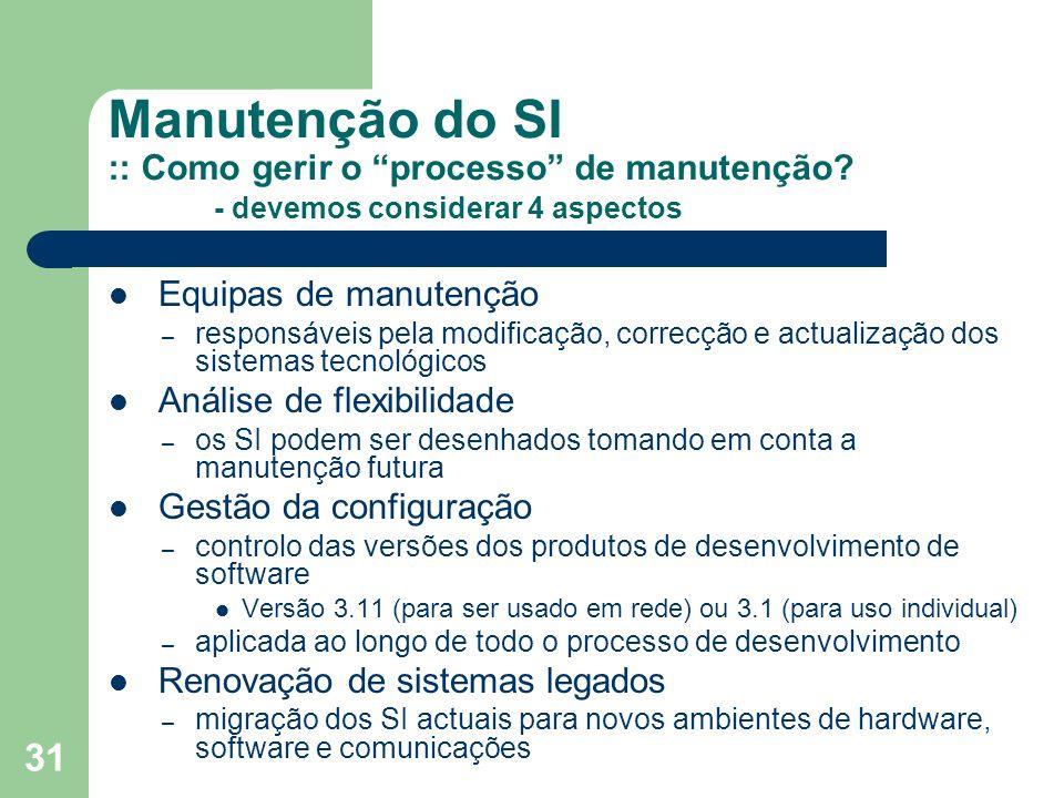 Manutenção do SI :: Como gerir o processo de manutenção