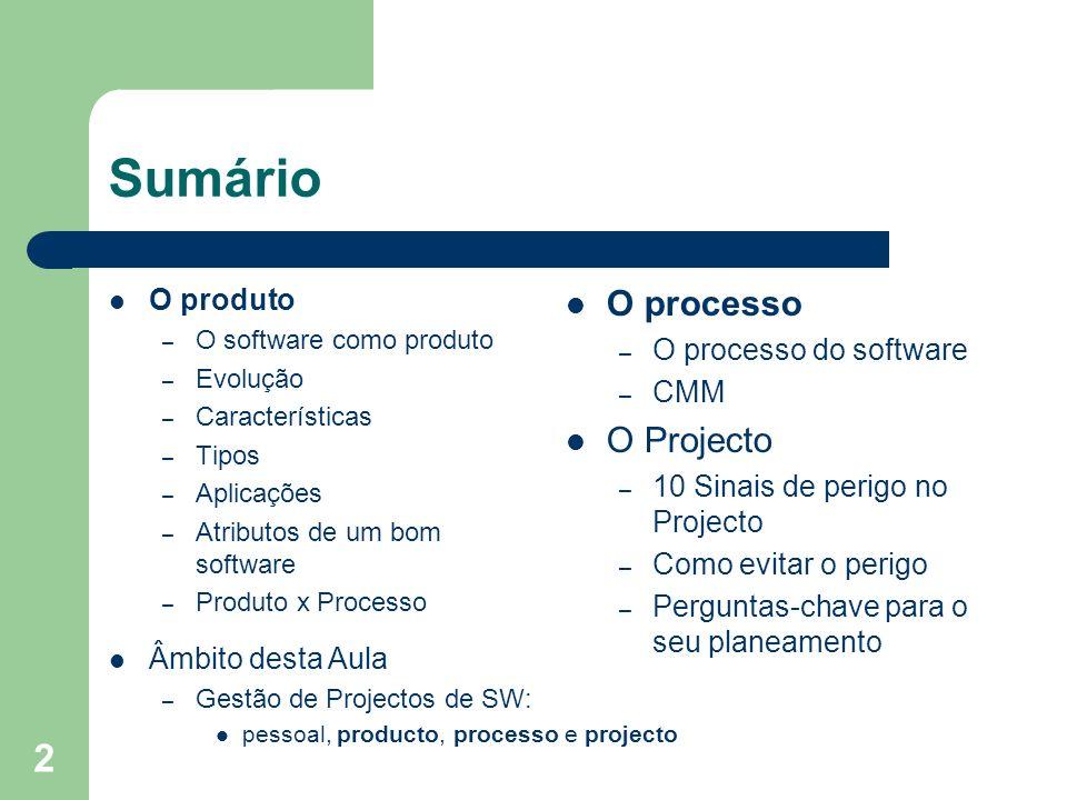 Sumário O processo O Projecto O produto O processo do software CMM
