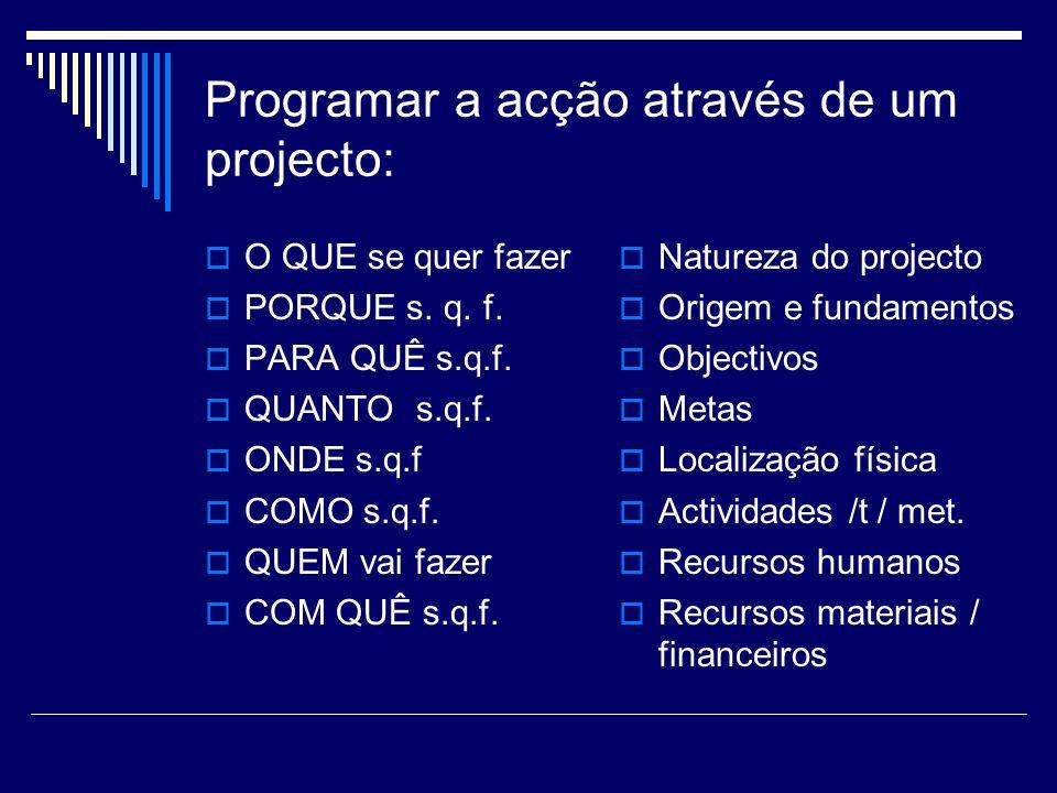Programar a acção através de um projecto: