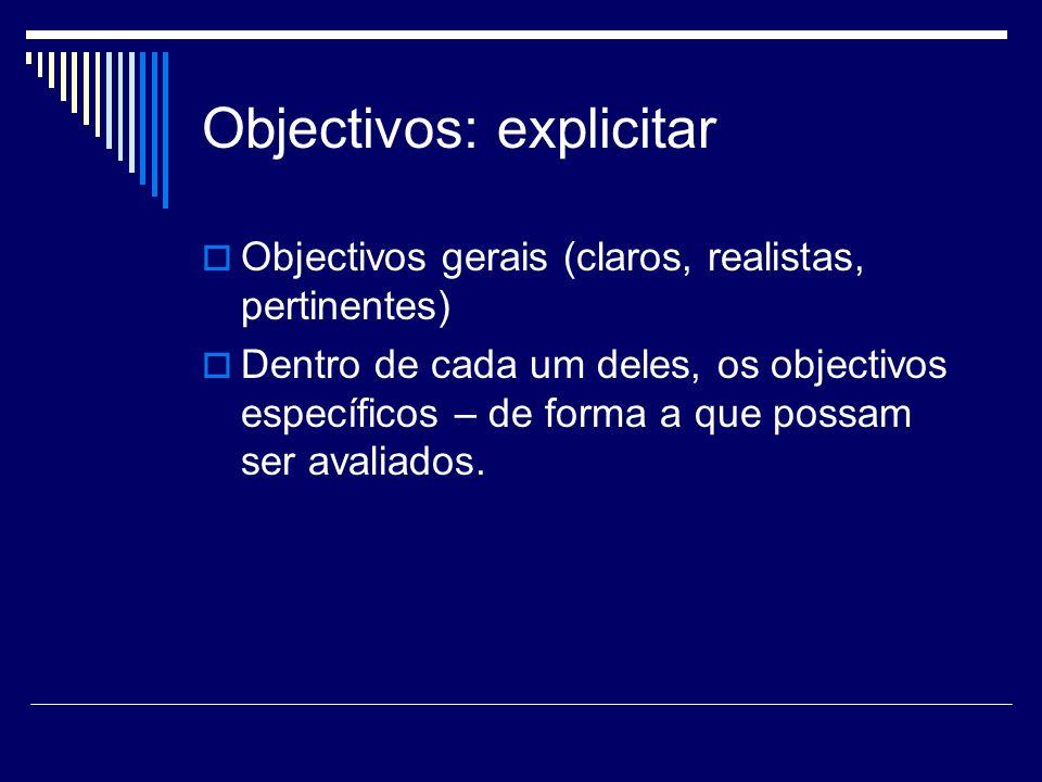 Objectivos: explicitar