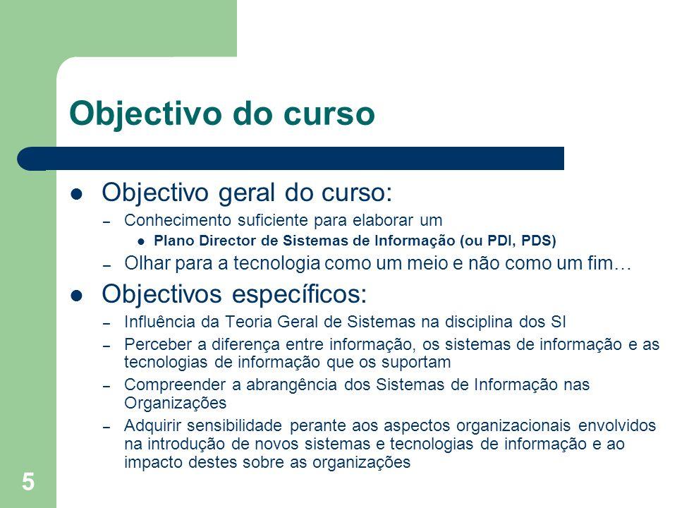 Objectivo do curso Objectivo geral do curso: Objectivos específicos: