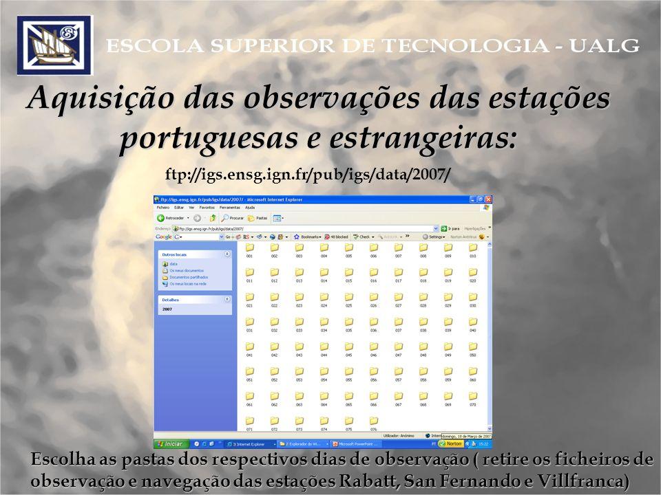 Aquisição das observações das estações portuguesas e estrangeiras: