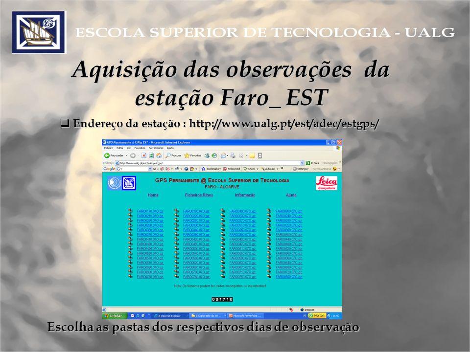 Aquisição das observações da estação Faro_ EST