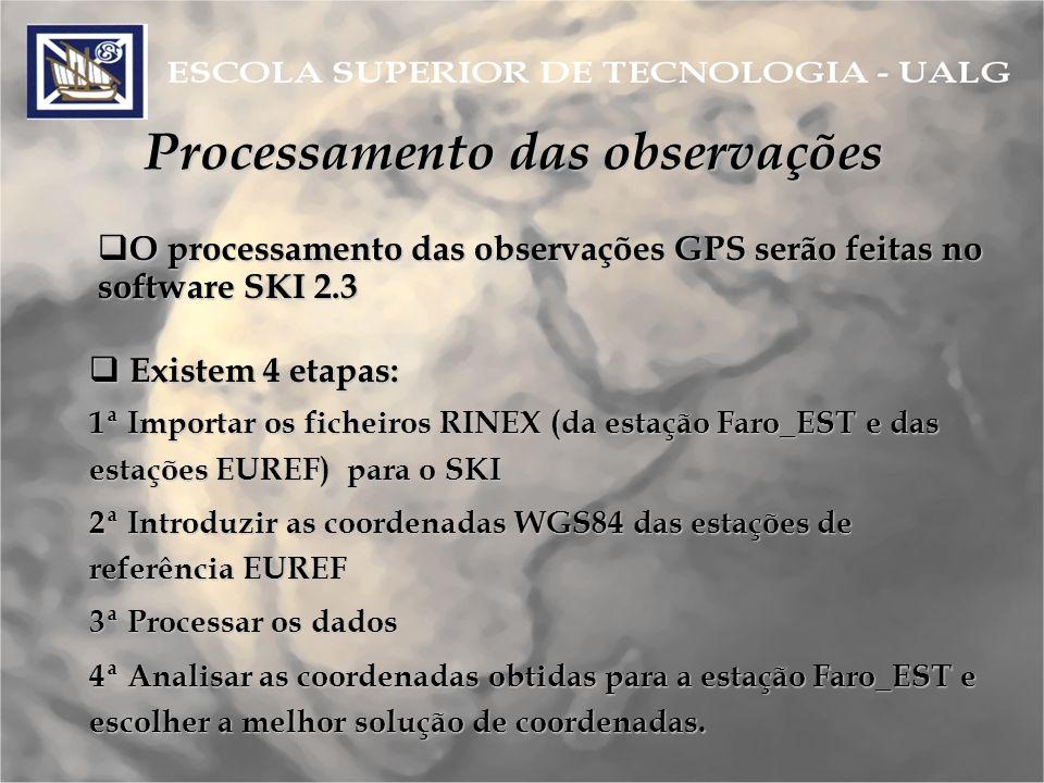 Processamento das observações