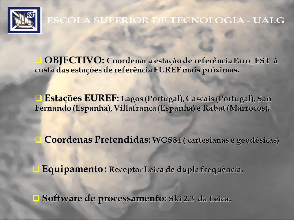 OBJECTIVO: Coordenar a estação de referência Faro_EST à custa das estações de referência EUREF mais próximas.