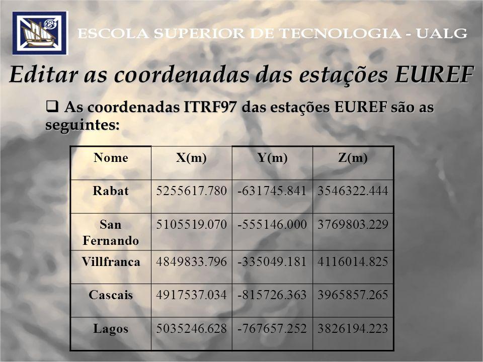Editar as coordenadas das estações EUREF
