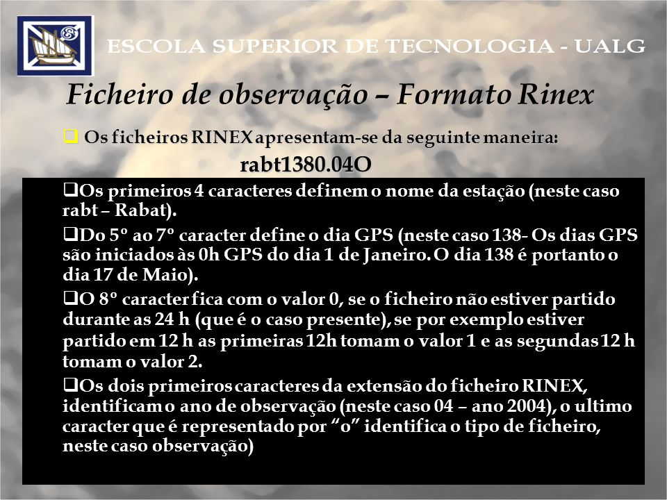 Ficheiro de observação – Formato Rinex