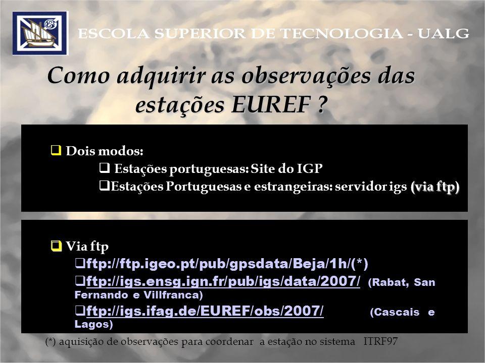 Como adquirir as observações das estações EUREF