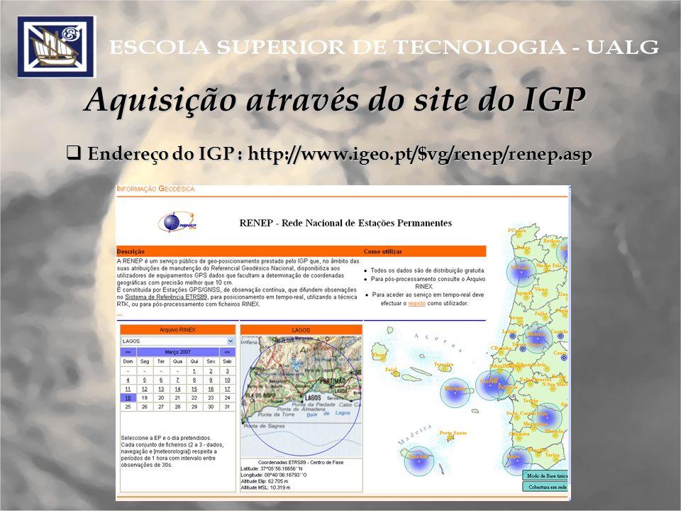 Aquisição através do site do IGP