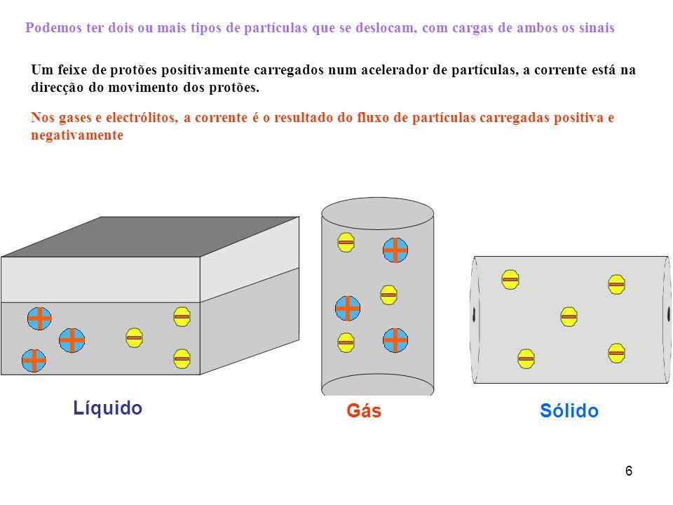 Podemos ter dois ou mais tipos de partículas que se deslocam, com cargas de ambos os sinais