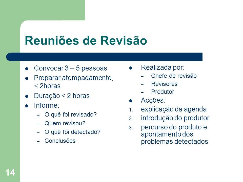 Reuniões de Revisão Convocar 3 – 5 pessoas
