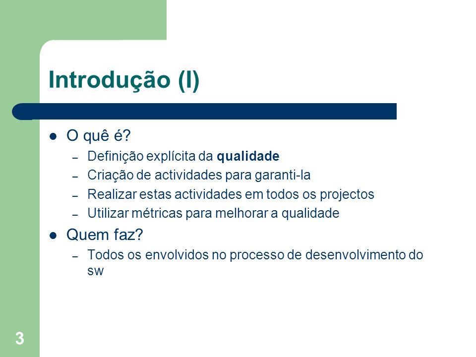 Introdução (I) O quê é Quem faz Definição explícita da qualidade