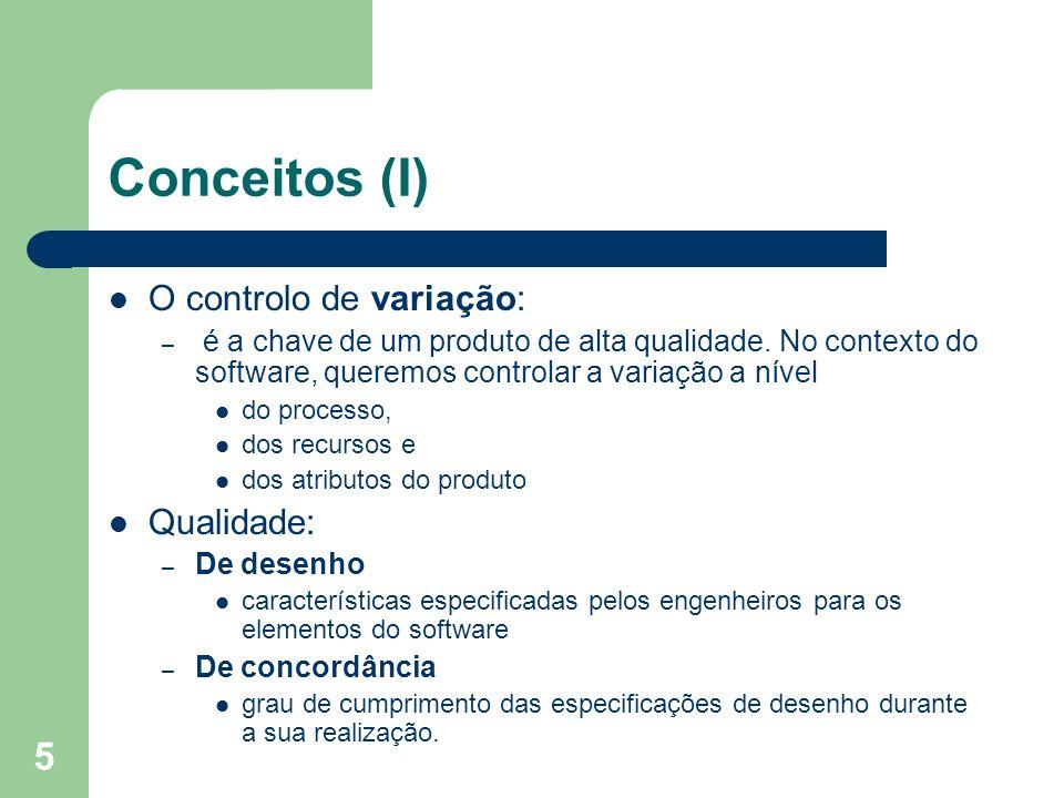 Conceitos (I) O controlo de variação: Qualidade: