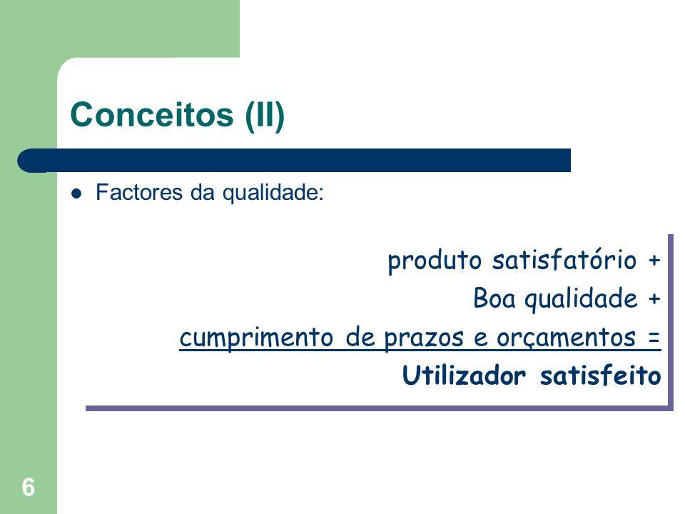 Conceitos (II) produto satisfatório + Boa qualidade +
