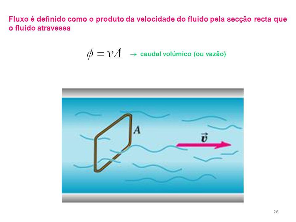 Fluxo é definido como o produto da velocidade do fluido pela secção recta que o fluido atravessa