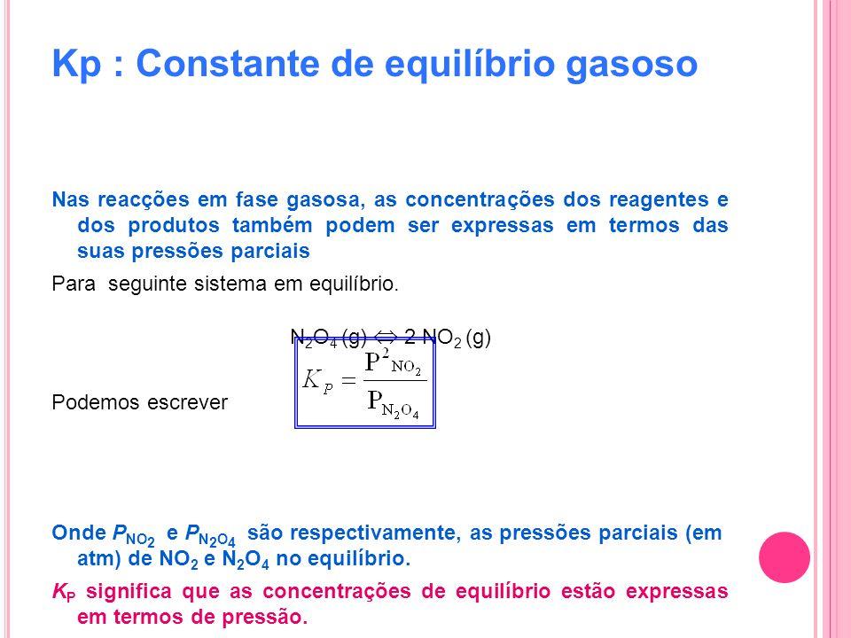 Kp : Constante de equilíbrio gasoso