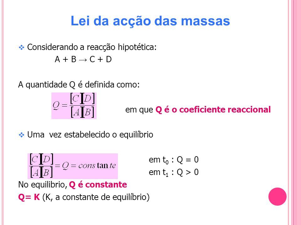 Lei da acção das massas Considerando a reacção hipotética: