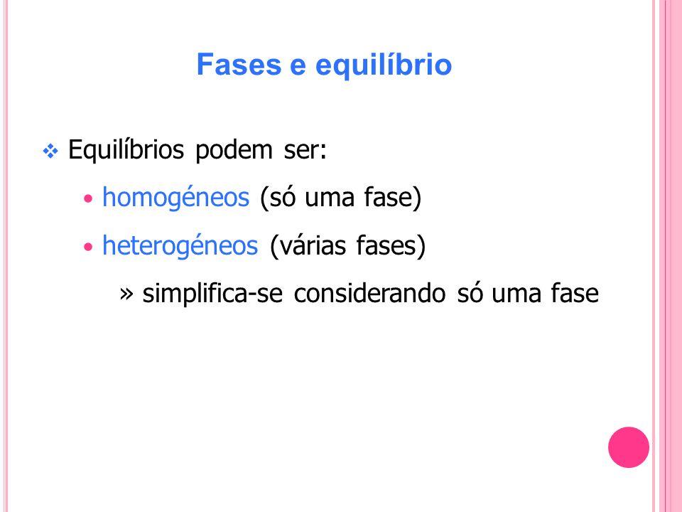 Fases e equilíbrio Equilíbrios podem ser: homogéneos (só uma fase)